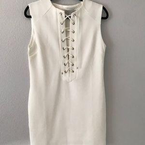 LF White Lace Up Dress